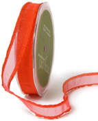 May Arts 1.6cm Wide Ribbon, Red Sheer with Ruffle Edge