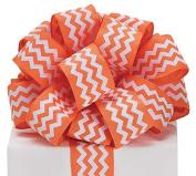Orange Chevron Satin Ribbon 3.8cm wide 20 yard roll Gift Wrap Bow Wreath Decor