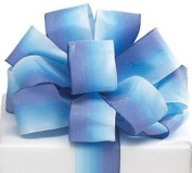 Blue Watercolour Satin Wired #9 Ribbon 3.8cm X 20 Yards