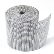 12cm x 10 Yards Silver Diamond Diamante Mesh Rhinestone Ribbon Crystal Wraps