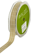 May Arts 1.6cm Wide Ribbon, Antique Gold Plaid