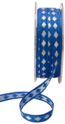 May Arts 1cm Wide Ribbon, Blue with White Diamonds