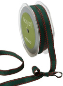 May Arts 1.3cm Wide Ribbon, Green Grosgrain with Red Stitches