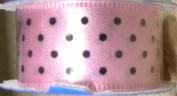 Offray Satin Pink & Black Dots Ribbon