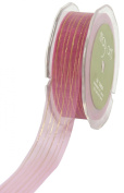 May Arts 2.5cm Wide Ribbon, Mauve Sheer with Gold Stripes