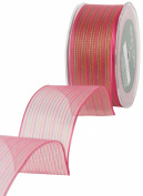 May Arts 3.8cm Wide Ribbon, Fuchsia Sheer Pinstripes