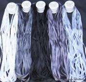 New 7mm Size ThreadNanny 5 Spools of 100% Pure Silk Ribbons - GREY Tones - 50 mts x 7mm