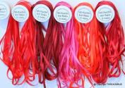 New 7mm Size ThreadNanny 5 Spools of 100% Pure Silk Ribbons - RED Tones - 50 mts x 7mm