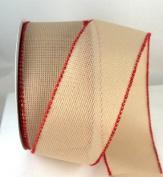 Needlework Wired Tan Weave Ribbon 6.4cm - 25 Yards