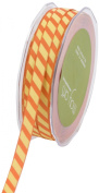 May Arts 1cm Wide Ribbon, Orange and Yellow Grosgrain Stripe