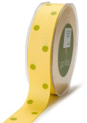 May Arts 2.5cm Wide Ribbon, Yellow and Green Grosgrain Dots