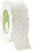 May Arts 3.8cm Wide Ribbon, White Grosgrain Polka Dot