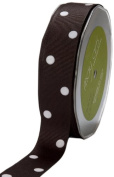 May Arts 2.5cm Wide Ribbon, Black Grosgrain Dots