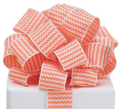 Zig Zag Chevron Ribbon Orange & White #9 Wired Woven, 3.8cm w X 20 Yard Roll