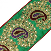 Fabric Trim Royal Beaded Sari Lace Crafting Green Paisley Tape 1 Yard