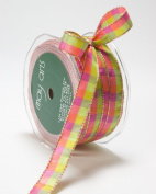 May Arts 1.3cm Wide Ribbon, Parrot Green and Fuchsia Cheque