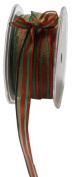 May Arts 1.3cm Wide Ribbon, Red and Green Stripes