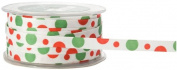 May Arts 1cm Wide Ribbon, Red and Green Grosgrain Dots