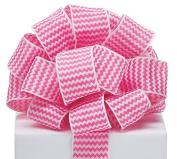 Zig Zag Chevron Ribbon Pink & White #9 Wired Woven, 3.8cm w X 20 Yard Roll