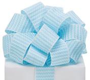 Zig Zag Chevron Ribbon Light Blue & White #9 Wired Woven, 3.8cm w X 20 Yard Roll