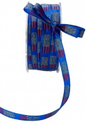 May Arts 1cm Wide Ribbon, Royal Blue and Red Stripe