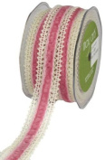 May Arts 2.5cm Wide Ribbon, Ivory Crochet with Pink Velvet