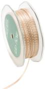 May Arts 0.3cm Wide Ribbon, Natural and White Satin Dot