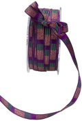 May Arts 1cm Wide Ribbon, Violet and Green Stripe
