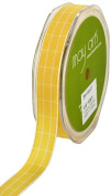 May Arts 1.6cm Wide Ribbon, Yellow Plaid