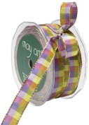 May Arts 1.3cm Wide Ribbon, Lavender and Parrot Green Cheque