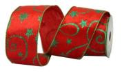 Renaissance 2000 Ribbon, 6.4cm , Red Velvet with Green Glitter Design
