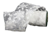 Renaissance 2000 Ribbon, 10cm , White Sheer with Snowflake