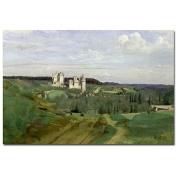 Trademark Fine Art View of Chateau de Pierrefonds 1840 by Jean Baptiste Corot Canvas Wall Art