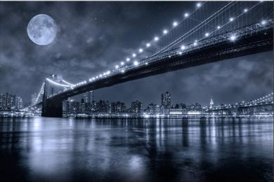 Brooklyn Bridge New York Canvas Art Wall, 5 Glowing Stars Startonight Blue 60cm X 90cm