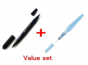 Uni Pocket Brush Pen - Soft Type & Hard Type 2 Way & Pentel Aquash Water Brush Pen Profesional Arts Value Set
