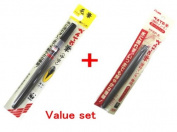 Pentel Water Baced Pigment Ink Brush Pen - Medium & Fine Point & Ink Cartridge Arts Value Set