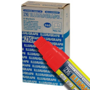 Zig Illumigraph High Fluorescent Wet Erasable 15mm Red Paint Markers - Box of 6