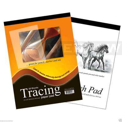 """Wennow """"Premium Quality Tracing Paper Pad 30 Sheets+Sketch Book Paper Pad 40 Sheets"""