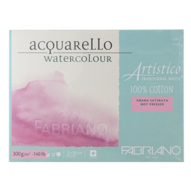 Fabriano Artistico 140 lb. Hot Press 20 Sheet Block 23cm x 30cm - Traditional White