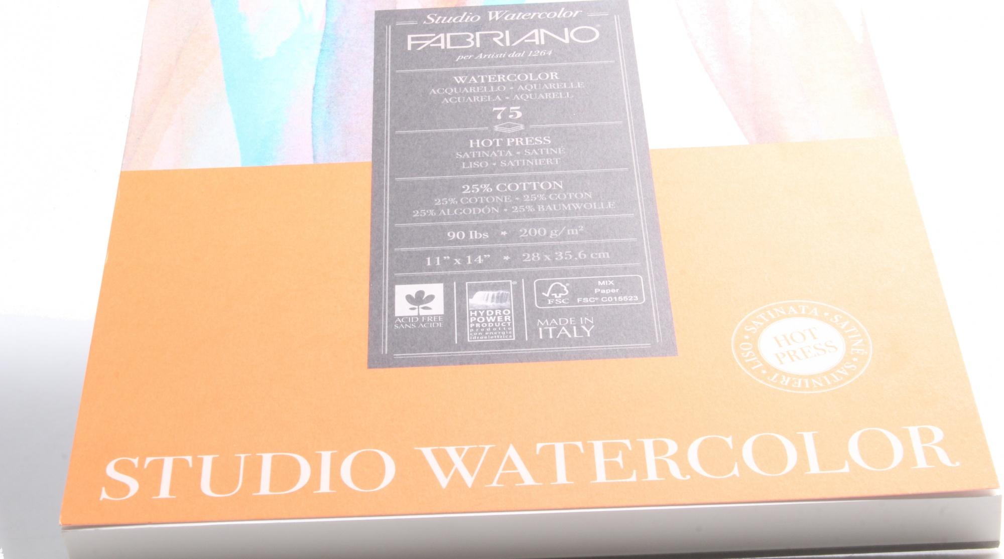 Fabriano Studio Watercolour Paper 90 lb  Hot Press 75-Sheet Pad 28cm x 36cm