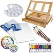 Custom Small Canvas Watercolour Painting Set with Desk Easel, 2 Winsor & Newton Canvases