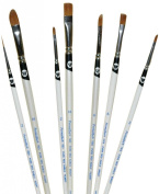 Permalba Oil Brushes, Pure Red Sable, Set of 7