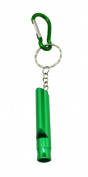 Yongshida Aluminium Whistle Colour Green with Key Ring and Carabiner Pack of 6