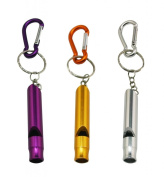Yongshida Aluminium Whistle with Key Ring and Carabiner 3 Colours Pack of 3 Sets