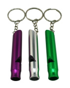 Yongshida Aluminium Whistle Key Ring Colour Deep Purple Silvery and Green Pack of 2 Sets