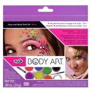 Set of Face and Body Art NEON Multicolor Paint with 2 Brushes