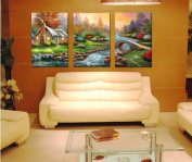 3pc canvas NO frame. Modern Abstract Art Painting Romantic Decor with The stone and the stream