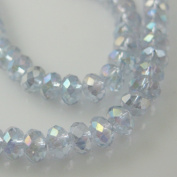 Crystal Glass Beads, 4x3mm Faceted Rondelle, Light Purple