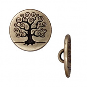 Brass Oxide Finish Pewter Tree Of Life Button 15.5mm