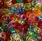 JOLLY STORE Crafts Multi Colours Transparent Pony Beads 9x6mm 500pc